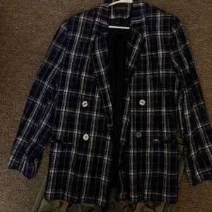 Other - Blue plaid double breasted jacket